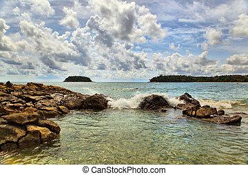 tengerpart, közül, kata, phuket, thaiföld