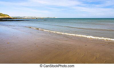 tengerpart, közül, la manche csatorna, közel, sapka,...