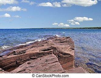tengerpart, közül, tó michigan