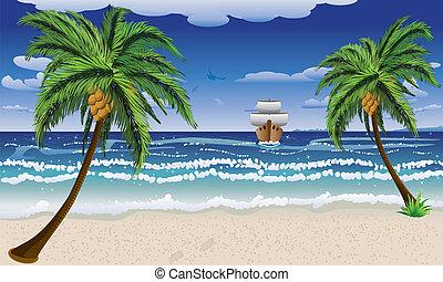 tengerpart, karikatúra, csónakázik