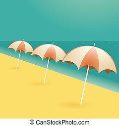 tengerpart, karikatúra, esernyők