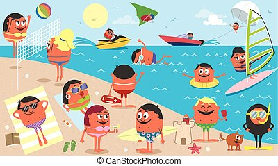 tengerpart, karikatúra, táj