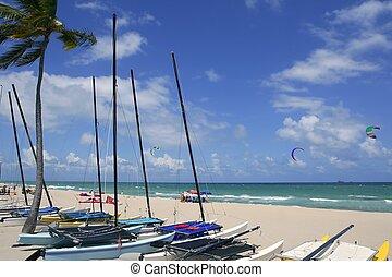 tengerpart, katamarán, florida, lauderdale, erőd
