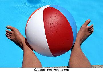 tengerpart, lábak, labda