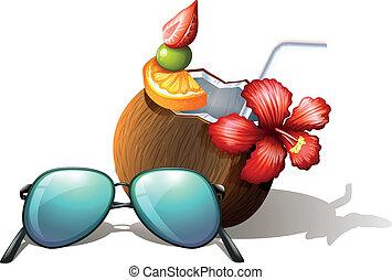 tengerpart, levegőzés, ital, napszemüveg, felfrissítő