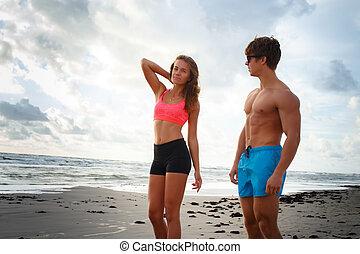 tengerpart., nő, ember