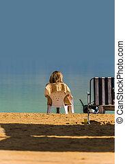 tengerpart, nő, tenger, holt, bágyasztó