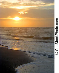 tengerpart, napkelte