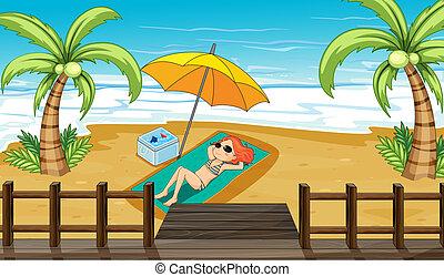 tengerpart, napozik, leány