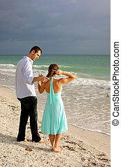 tengerpart, párosít, florida, fiatal, bájos