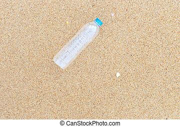 tengerpart, palack, műanyag