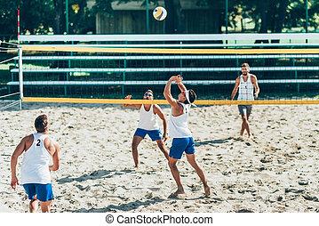tengerpart röplabda, játékosok, közben, játék