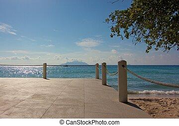 tengerpart, seychelles, sziget, étterem, piperkőc, mahe, kis...