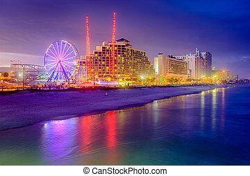 tengerpart, standszakasz, daytona, usa, segélyforrás, skyline., florida