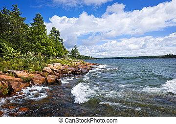 tengerpart, sziklás, grúz, öböl