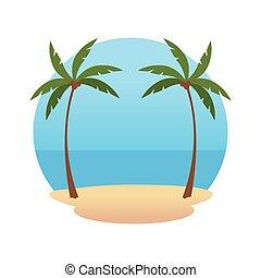 tengerpart táj, táj, ikon