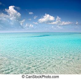 tengerpart, teljes, white homok, türkiz, víz