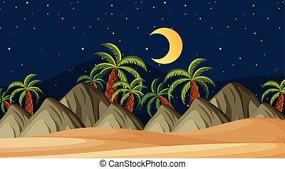 tengerpart, tervezés, táj, háttér, éjszaka