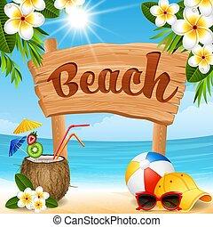 tengerpart, transzparens