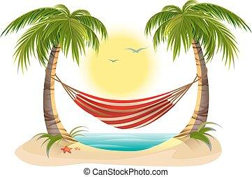 tengerpart, vacation., függőágy