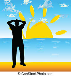 tengerpart, vektor, árnykép, ábra, ember