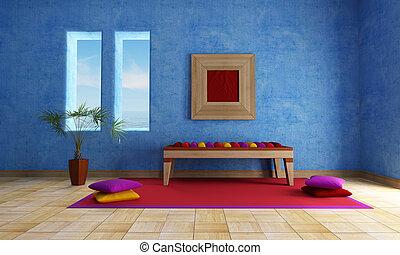 tengertől távol eső, kék, szoba, eleven