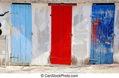 tengertől távol eső, kimerülés, ajtók, többszínű