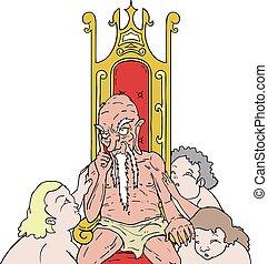 tengu, homme, roi, adoration, chaise