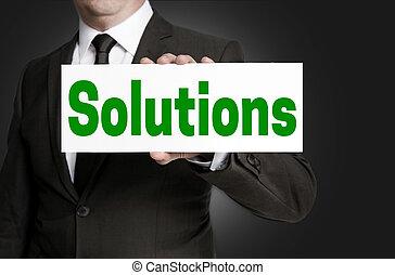 tenido, hombre de negocios, soluciones, señal
