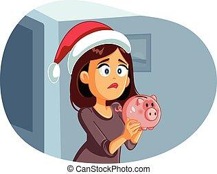 teniendo, ahorros, navidad, mujer, no, triste, se estropeó