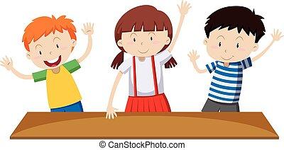 teniendo, arriba, manos, niños