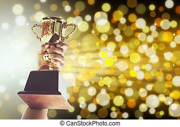 teniendo arriba, trofeo de oro, concept., hombre, victoria, ...