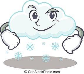 teniendo, diseño, confiado, nube, mascota, gesto, nevoso