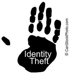 teniendo, impresión, -, identidad, mano, robo, robado
