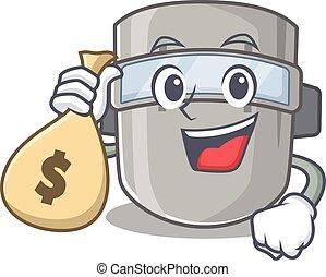 teniendo, soldadura, dinero, diseño, mascota, máscara, rico...