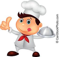 tenir nourriture, métal, p, chef cuistot, dessin animé