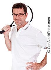 tenis, aislado, jugador, adulto, raqueta, sonriente