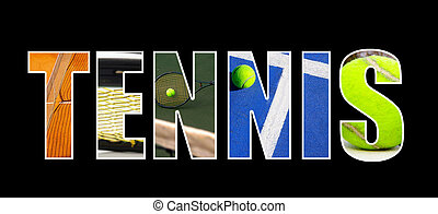 tenis, collage, concepto