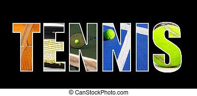 tenis, collage, concepto