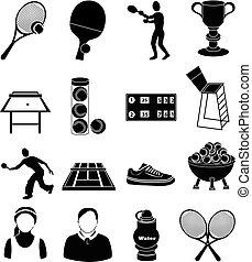 tenis, conjunto, iconos