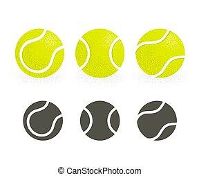 tenis, conjunto, pelotas