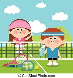 tenis, court., ilustración, jugadores, vector, niños