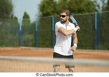 tenis, día soleado, hombre, juego