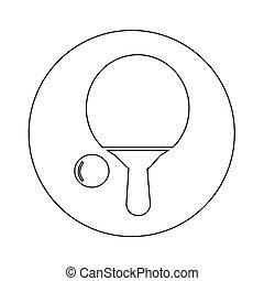 tenis de mesa, icono, ilustración, diseño