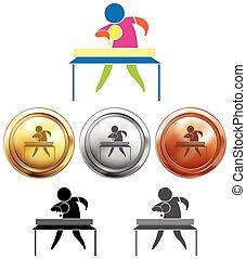 tenis de mesa, icono, y, deporte, medallas