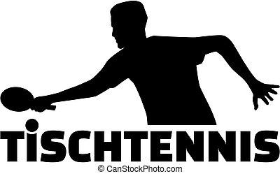 tenis de mesa, jugador, con, alemán, deportes, título