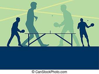 tenis de mesa, jugador, vector, resumen