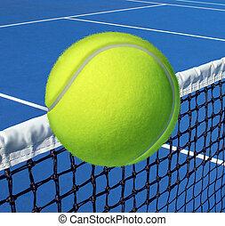 tenis, deporte, concepto, con, un, pelota, el volar encima, el, tribunal, red, o, red, como, un, ocio, condición física, y, ejercicio, símbolo, y, asistencia médica, icono, para, recreativo, ejercitar, y, vida, un, ataque, lifestyle.