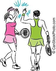 tenis, equipo, mujeres, ilustración