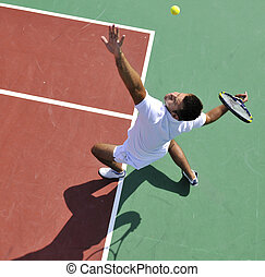 tenis, gra, na wolnym powietrzu, młody mężczyzna